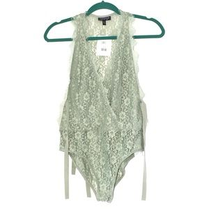 TOPSHOP ONE PIECE LINGERIE IN MINT GREEN